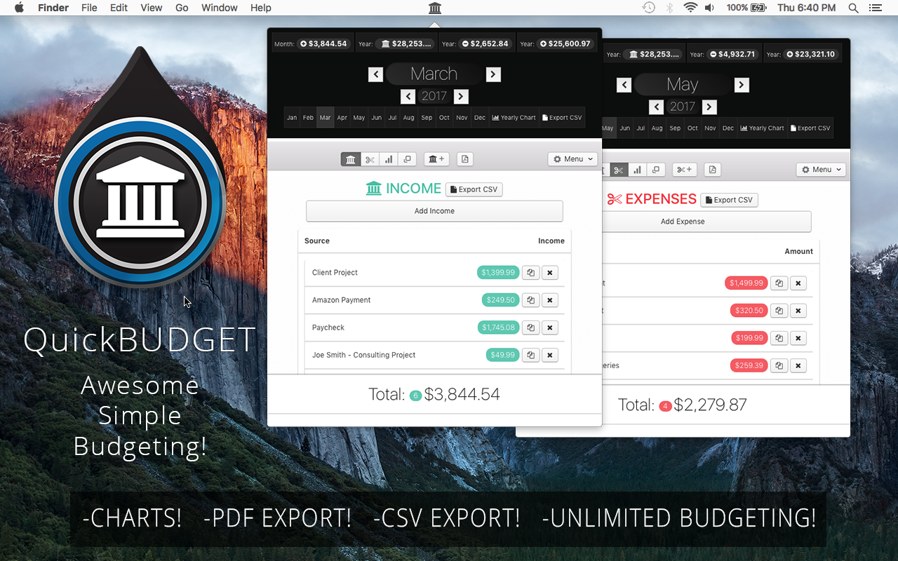 QuickBudget The Simple Monthly Budget Calculator Mac OSX App – Monthly Budget Calculator