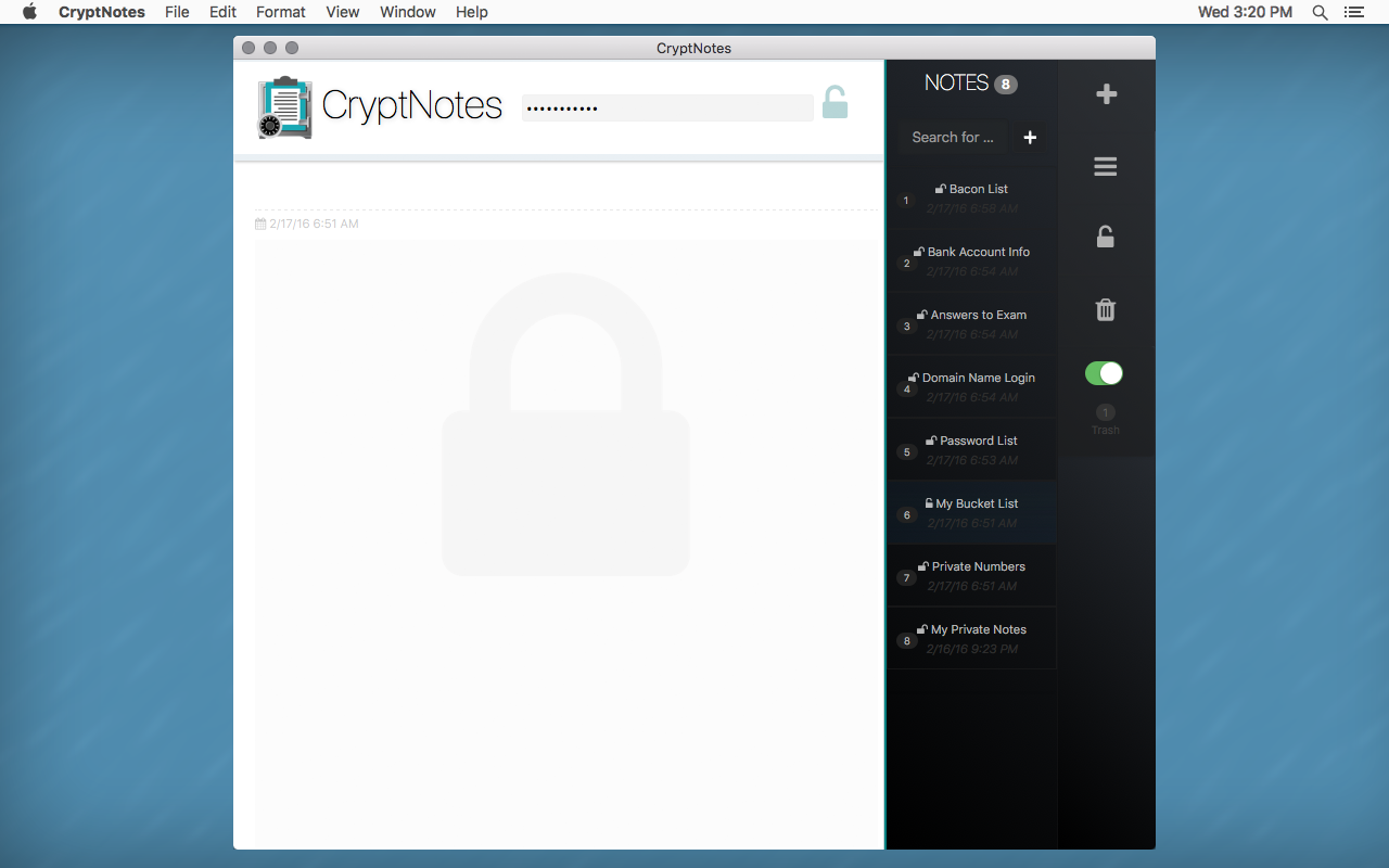 CryptNotes - AES Encryption, Password Protected, Journal App - Mac