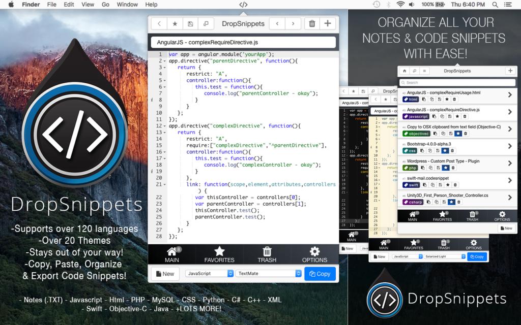 DropSnippets - Menubar Code Snippet & Note Manager – Mac OS X App -  Apedemak Studios