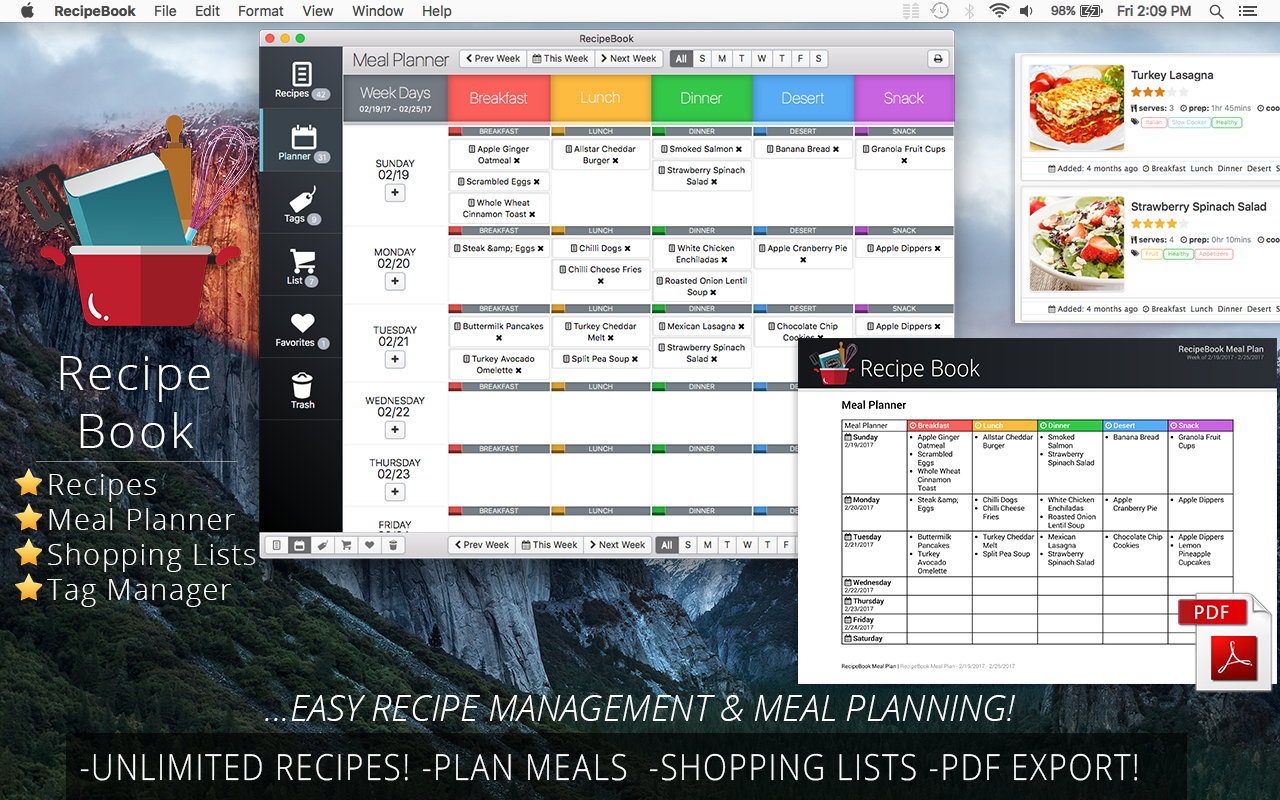 Recipe manager software mac free dandk organizer for Plan book app